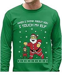 Tstars - I Touch My Elf Ugly Christmas Sweater Long Sleeve T-Shirt