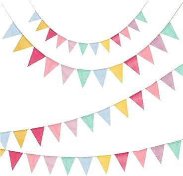 4 Piezas Banderines, Banderín Colorido Estandarte Tela de arpillera Banderín Cadena Guirnalda con Cuerda de Yute de 10M para Fiesta de Bodas Fiesta de cumpleaños de Navidad Fiesta de Baby Shower: Amazon.es: