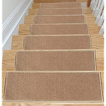 bullnose wraparound carpet stair treads skid resistant rubber backing non slip machine washable area dark beige set of 13 dean premium tre