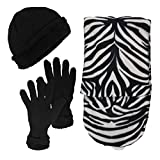 Women's 3-Piece Hat, Gloves and Scarf Animal Print Winter Bundle (Zebra)