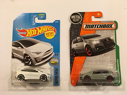 - Hot Wheels Matchbox 2017 Volkswagen GTI 118/125, Gray & Bonus 2017 Factory Fresh Tesla Model X 97/365, White