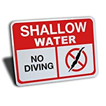 """Shallow Water No Diving Sign, Aluminum, Red and Black, 14"""" by 10"""""""