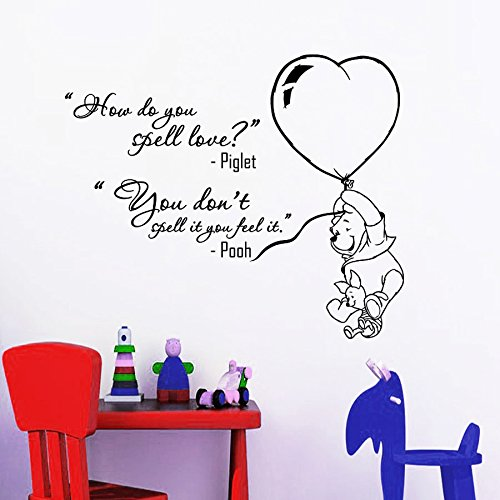 Baby Pooh Winnie Monitor The (Wall Decals Quotes Winnie The Pooh Piglet How Do You Spell Love Quote Vinyl Sticker Nursery Room Bedroom Decal Baby Boy Girl Home Decor Art Murals DA3682)