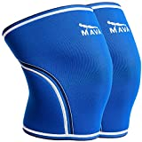 Mava Knee Wraps for Support and Stability for Prevention & Reduction Of Stiff Muscles and Joints - for Strongman, Powerlifting, and Olympic Weightlifting Reduce the Risk of Injury – Blue Color