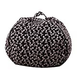 Evoio Stuffed Animal Storage Bean Bag Chair Stuffed Toys Storage or Sack Premium Cotton Canvas Zipper Organizer Box for Kids (Black-Skull, 38'')