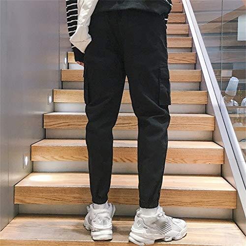 Nove Casual Nero pocket Pantaloni Minuti Sciolto Pantaloni Multi Cotone Uomo Cargo Amlaiworld Haren OY7Sqt