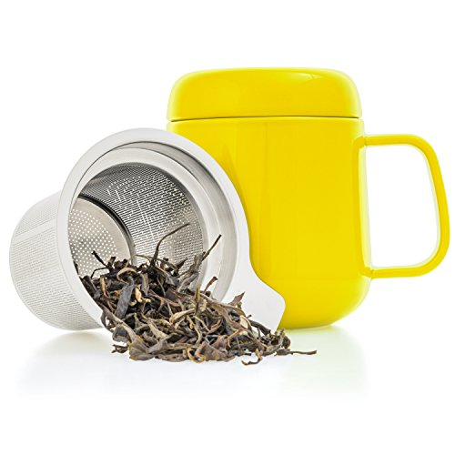 Tealyra - Sumo Ceramic Yellow Tea Cup Infuser - 13.5-ounce - Small Mug with Lid and Stainless Steel Filter For Loose Leaf Tea - Tea-For-One - 400 ml (Tea One Person Set)
