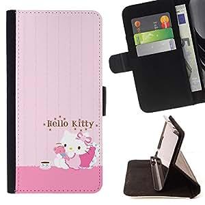 - PINK HELLO CAT CUTE - - Monedero PU titular de la tarjeta de cr????dito de cuero cubierta de la caja de la bolsa FOR Apple Iphone 4 / 4S RetroCandy