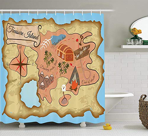 TYANG Island Map Decor Shower Curtain Set,Cartoon Treasure Map of Tropical Beach with Chest and Key Mystical World Theme,Bathroom Accessories Extralong,Cream Pink Blue 5572 inches