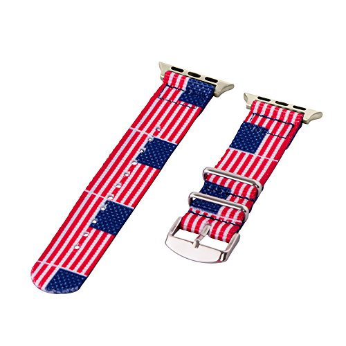 Branded American Flag (Clockwork Synergy - 2-Piece Classic Nato Nylon Flag Watch Bands for Apple (38mm American Flag))