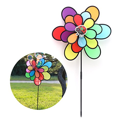 EA-STONE Colorful Windmill - Three Layers of Rainbow Insect Windmill,DIY Colorful Wind Spinner Windmill For Kids Toy Home Garden Yard Outdoor Decoration (Rainbow Wind Generator)
