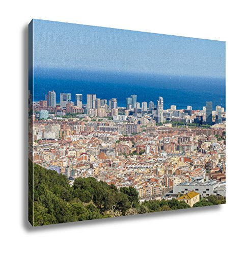Ashley Canvas Panoramic View From Turo Del Rovira In Barcelona Spain Wall Art Decor Stretched Gallery Wrap Giclee Print Ready to Hang Kitchen living room home office, 24x30 by Ashley Canvas