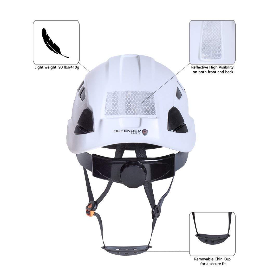 Defender Safety H1-CH Safety Helmet Hard Hat ANSI Z89.1 for Construction (White) by Defender Safety