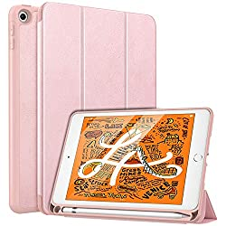 MoKo Case Fit New iPad Mini 5 2019 (5th Generation 7.9 inch) with Apple Pencil Holder - Slim Lightweight Smart Shell Stand Cover Case with Auto Wake/Sleep for iPad Mini 2019 - Rose Gold