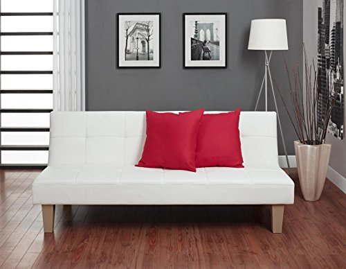 DHP Aria Futon Couch, Tufted Faux Leather Upholstery – White