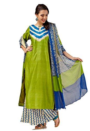 - SakhiFashions Womens Pure Tussar Silk Salwar Kameez S-Small Blue, Green