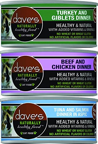 (24 Pack) Dave's Pet Food Naturally Healthy Grain-Free Canned Cat Food Mixed Tuna and Salmon, Beef and Chicken, Turkey and Giblets 5.5 Ounces Each