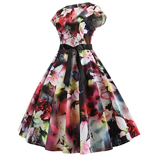 Women's Floral Party Prom Swing Dresses, Elegant Halloween Dresses for Women, Summer Casual Elegant for Women Tunic