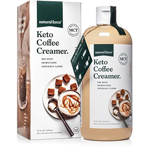 (Keto Coffee Creamer, Caramel *Best Keto MCT Oil for Mixing in Drinks* Unsweetened, C8/C10 only - NO Palm Oil, Made with Organic Coconuts from Sri Lanka by Natural Force 16oz)