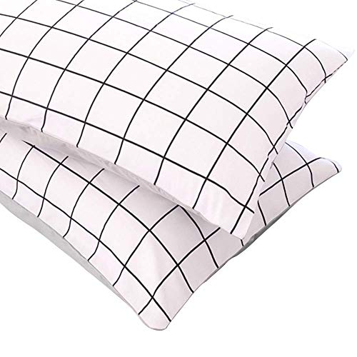(BuLuTu Plaid Grid Cotton Pillow Cases Standard White/Gray,Kids Pillowcases Set of 2 Pillow Covers Decorative Queen for Adults Envelope Closure(2 Pieces,20×26in))