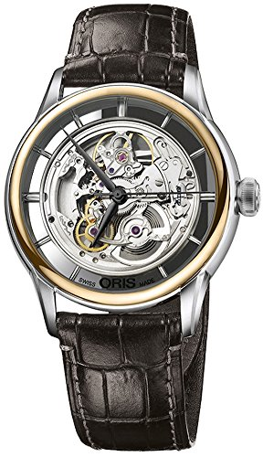 Oris 01 734 7684 6351-07 5 21 70FC Men's Watch Artelier Translucent Skeleton 18K Rose Gold Bezel