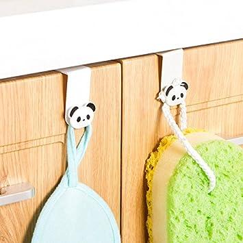 Generic Cocina baño 2pcs Armario Puerta Gancho Estilo Panda Toalla Accesorio de Gancho de Rack de Almacenamiento para Colgar de Trapo Multiusos Utilidad 4d: ...