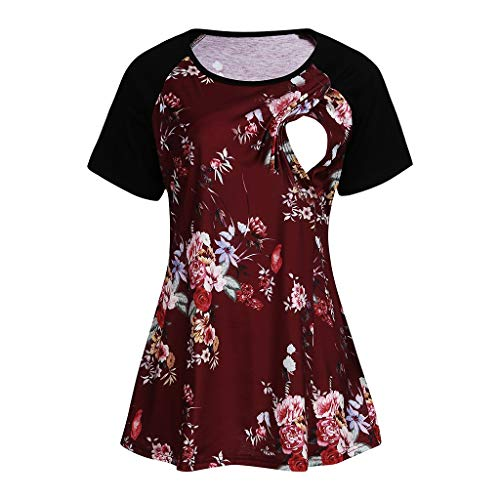 Ghazzi Maternity Nursing Tops Women Floral Printed Maternity Tops Short Sleeve Nusring Blouse Comfy Layered Vest