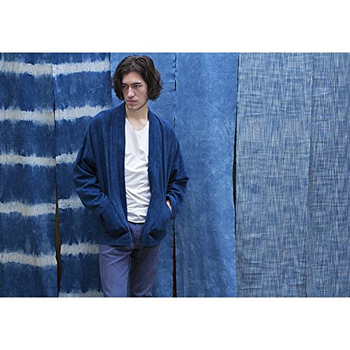 Shibori tie dye Hand woven Cotton Kimono jacket - Oversized style Unisex Blue Coat - Vintage Natural hand dyed Japanese Jacket (Indigo Apparel Vintage)