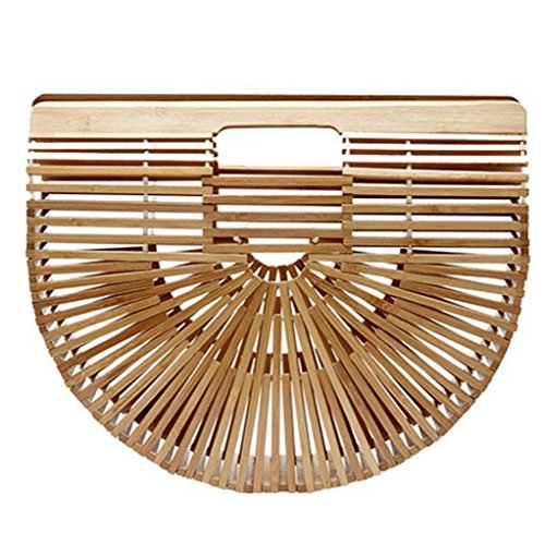 Creazy Fashion Women's Bamboo Handbag Handmade Lady Large Tote Bags Beach Shoulder Bag (Beige)