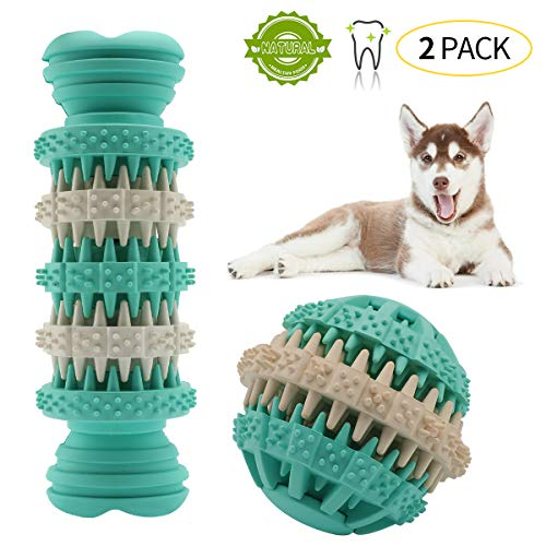 QING Dog Chew Toys Ball and Sticks for Small Medium Dogs Natural Durable Rubber Bone Teeth Cleaning Bite (M)