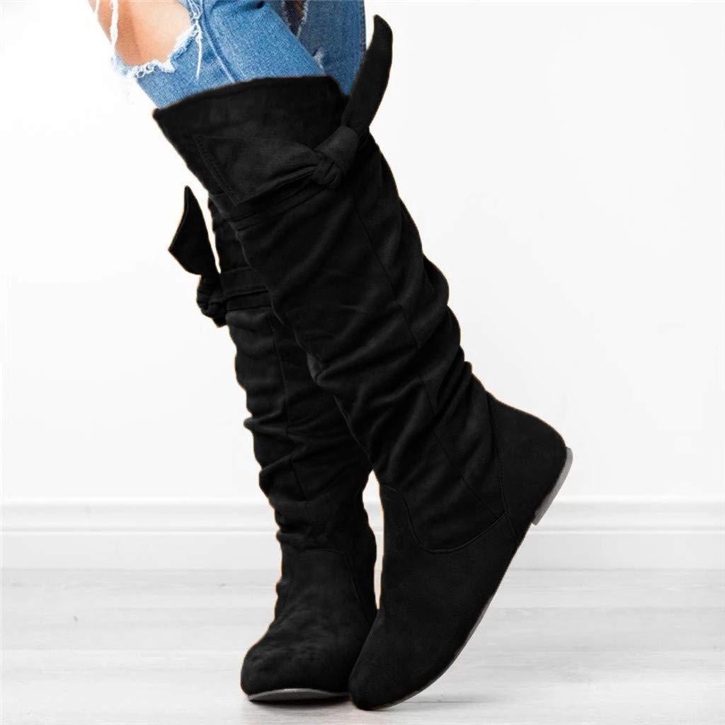Logobeing Botas Mujer Altas Zapatode Mujer Casual Botas Anchas hasta La Rodilla Anudadas Hermosas Zapatos Planos