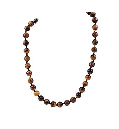 Treasurebay FAB 10mm Tiger Eye Gemstone Necklace With Magnetic Clasp Length 48cm/19