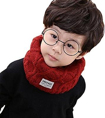 Cute Knitted Wool Scarf Winter Kids Boys Girls Long Scarf Neck Warmer Soft Warm Children Circle Loop Infinity Scarf