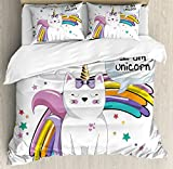 Ambesonne Unicorn Cat Duvet Cover Set Queen Size, Fairy Animal with Ice Cream Cone Bow Stars and Rainbow Kids Imagination Fiction, Decorative 3 Piece Bedding Set with 2 Pillow Shams, Multicolor