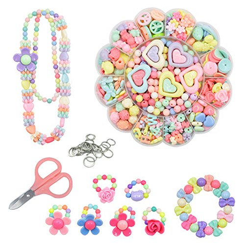 Colorful Acrylic Beads - DIY Beads Set,ITOY&IGAME 471 PCS Acrylic Colorful DIY Beads Jewelry Making Set Necklace and Bracelet Crafts for Kids with Scissors,Steel Ring and Box