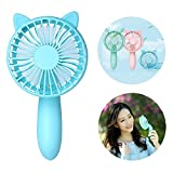 Mini Handheld Personal Fan Rechargeable Battery Powered Portable Adjustable Table USB Fans Travel Cooler 1200mAh with 3 Speed For Home and Travel Cat Ear