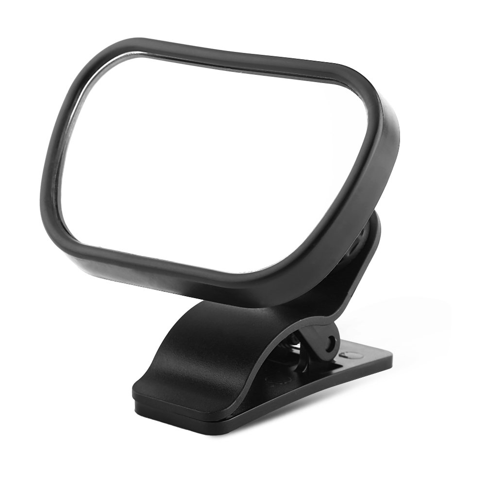 Baby Rear View Mirror, Adjustable Shatterproof Baby Car Back Seat Safety Mirror with Suction Cup Clip Black VGEBY