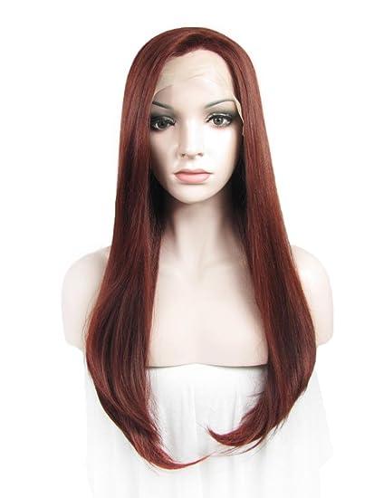 Marilyn Monroe peluca larga recta de color rojizo sintético frontal encaje sintético peluca peinados