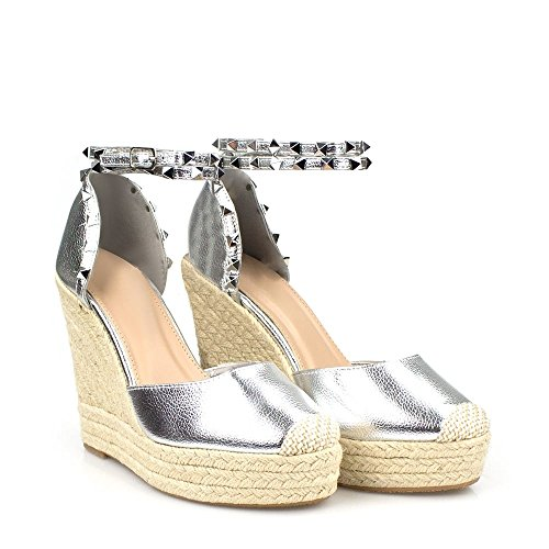 Amilia Strap Ankle Silver Wedge Metallic Sandal Espadrille Platform Studded qwqcZHARxf