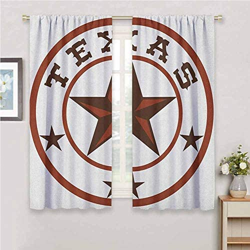 Jinguizi Texas Star Short Curtain Round Symbol with Lone Star Earth Toned Monochromatic Illustration Country Curtain Dark Brown and Brown 84 x 72 inch