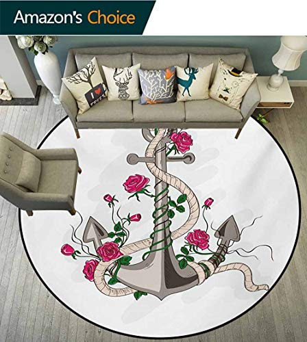 RUGSMAT Rose Modern Washable Round Bath Mat,Hand Drawn Illustration of Sea Anchor Entwined with Flowers and Marine Rope Non-Slip Bathroom Soft Floor Mat Home Decor,Round-51 Inch Hot Pink Green -