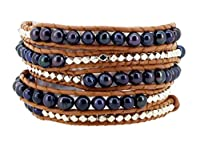 Long Dyed Black Freshwater Cultured Pearl Silver Tone Alloy Beaded Wrap Bracelet, 40 Inches