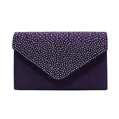 Handbag Chaine Soiree Violet Soiree Sac Party Pochette Mariage Enveloppe Strass de Epaule wU7Av