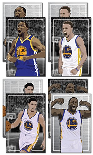 4 Posters of Golden State Warriors - Kevin Durant, Steph Curry, Draymond Green, Klay Thompson Art Prints - Buy 1 Get 3 Free, 4 total prints (2-sided) (Medium Set - - Get Oakley One Buy One