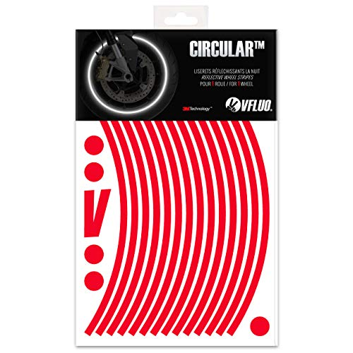 VFLUO CIRCULAR, Motorcycle retro reflective wheel stripes kit (1 wheel), 3M Technology, 7 mm width, Red ()