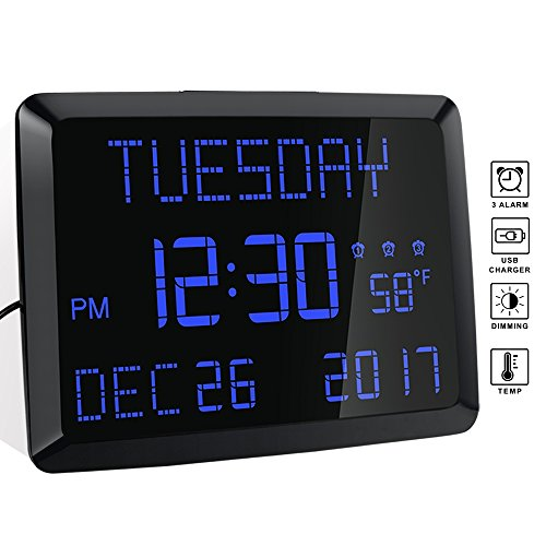 ROCAM 11.5' Extra Large Display LED Digital Wall & Desk Calendar Alarm Day Clock with Date and Time,...
