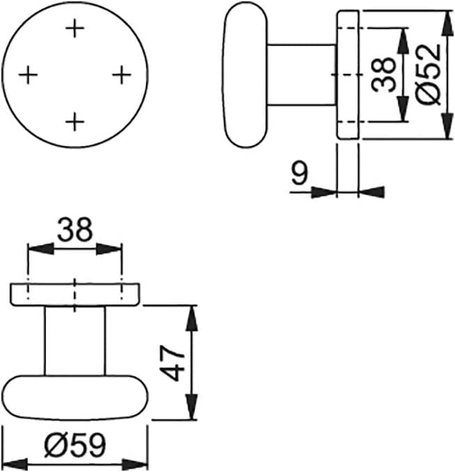   Cilindro Forma   aluminio plata anodizado, bot/ón de Fix, 1/pieza Hoppe para puerta en roseta para cerradura