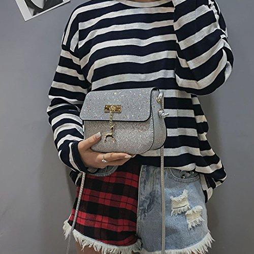 Gabrine Crossbody 00465 Sequin Womens Little Handbag Silver Stars Glitter Bag Shoulder ZBZxrgq
