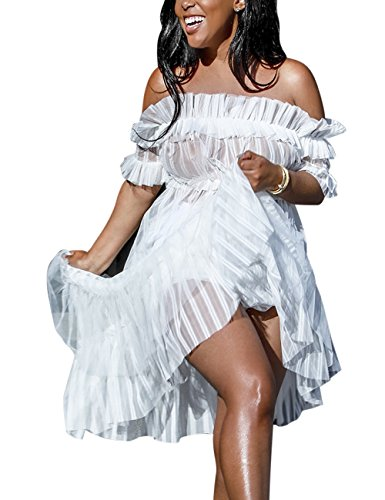 XAKALAKA Women's Sexy Lace Off Shoulder High Wasit Flared Mesh Club Maxi Dress White XXL]()