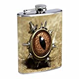 Vintage Steampunk Science Fiction Steam Powered Machine Art Flask S63 Stainless Steel 8oz Hip Silver Alcohol Whiskey Drinking Brandy Rum